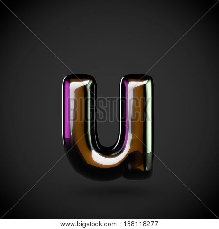 Glossy Black Letter U Lowercase With Colored Reflections