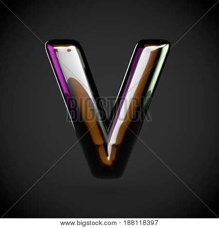 Glossy Black Letter V Uppercase With Colored Reflections