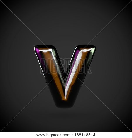 Glossy Black Letter V Lowercase With Colored Reflections