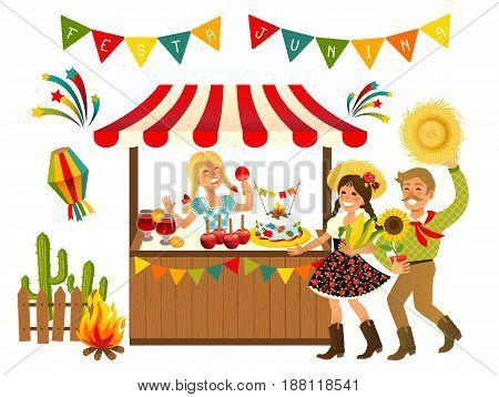 Tent Festa Junina Brazilian Apple Candy- June Party Festival. Vector Illustration.