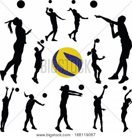 volleyball man and woman player silhouette vector