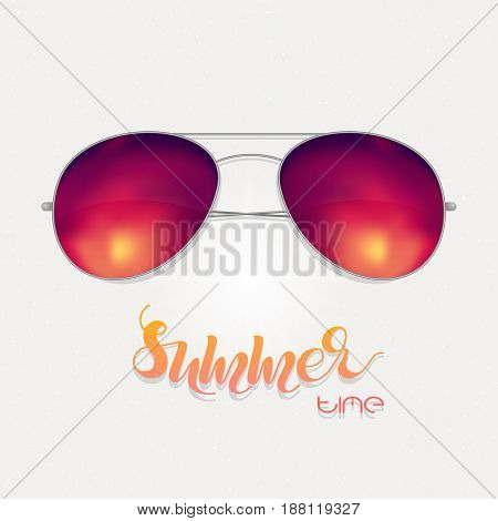 Sunglasses with sunset reflection isolated. Vector illustration