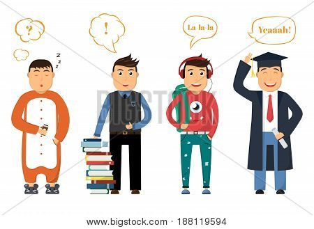 Student life in college. Young man sleeps in morning, holds coffee, with books in day, on vacation and holidays, graduation. Cartoon people with speech bubbles. Education theme. Vector illustration.