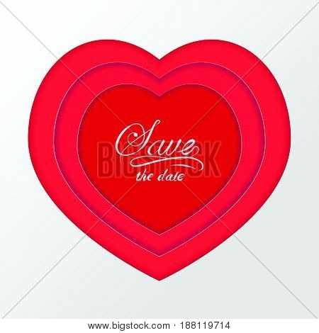 Red volumetric paper cut heart for Valentines day card, wedding invitation background with shadow. 3D effect
