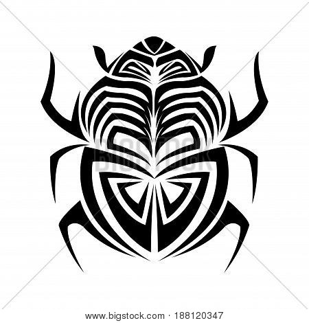 scarab beetle. hand drawn doodle insect. vector illustration