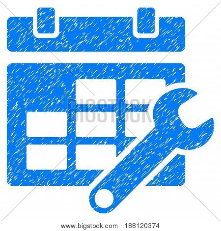 Grunge Timetable Options icon with grunge design and dust texture. Unclean vector blue pictogram for rubber seal stamp imitations and watermarks. Draft sign symbol.