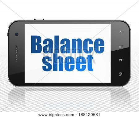 Currency concept: Smartphone with blue text Balance Sheet on display, 3D rendering