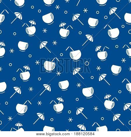 Cute Seamless Pattern With Cocktail In Half Coconut, Tube And Umbrella. Travel And Leisure.