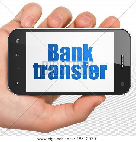 Banking concept: Hand Holding Smartphone with blue text Bank Transfer on display, 3D rendering