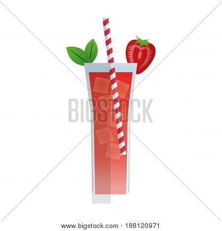 cocktail strawberry mint drink. beverage with straw mint fresh vector illustration