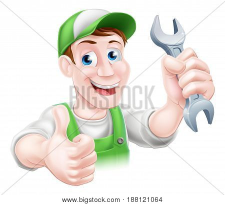 A happy cartoon plumber or mechanic man holding a spanner or wrench and giving a thumbs up poster