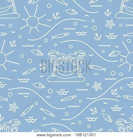 Cute Seamless Pattern With Fish, Island With Palm Trees And A Hammock, Anchor, Sun, Waves, Seashells