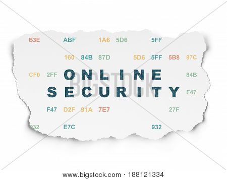 Protection concept: Painted blue text Online Security on Torn Paper background with  Hexadecimal Code