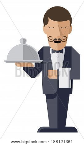 A welcoming stylised waiter character holding a serving platter or silver cloche