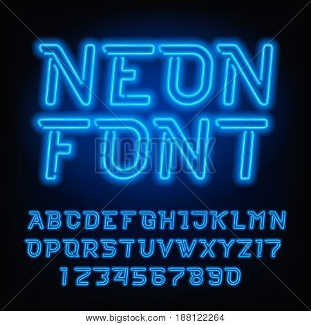 Neon tube alphabet font. Blue color oblique type letters and numbers. Vector typography for headlines, posters, etc.