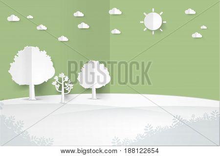 minimalist landscape with treehillsuncloud landscape background paper art style vector illustration.