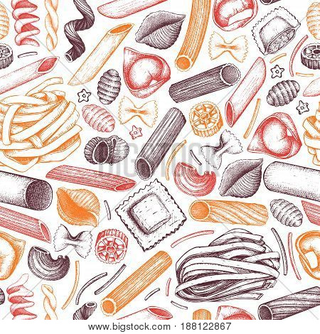 Vector background with traditional Italian pasta sketch. Vintage seamless pattern with hand drawn food illustrations. Cafe or restaurant menu design