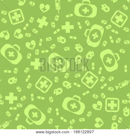Medical Icons Seamless Pattern on Green Background