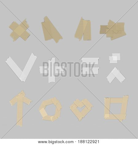 Isolated sticky tape pieces on grey background.  Vector illustration.