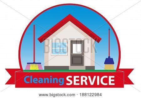 Clean house. Banner for advertising service cleaning. Vector illustration.