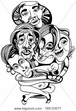 Hand drawn asians Buddhists people cartoon vector.
