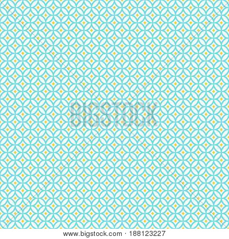 Oriental seamless pattern in white yellow and blue colors. Eastern geometric ornament. Vector abstract background.
