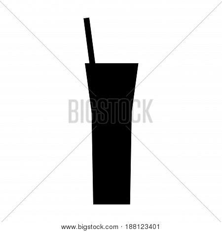 silhouette cocktail straw beverage icon vector illustration