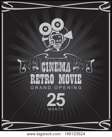 Vector cinema retro movie poster with old fashioned movie camera in retro style. Can used for banner poster web page background