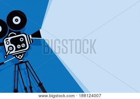 Vector blue background with lighting old fashioned movie camera on the tripod. Can used for banner poster web page background