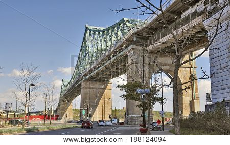 Jacques Cartier Bridge In A Blue Sky At Montreal, Canada