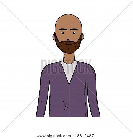 cute man with hairstyle and beard, vector illustration