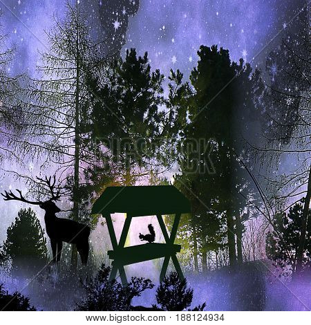 Dark night winter landscape with silhouettes of trees, animals and stars. Blue, white and black forest with deer and squirrel