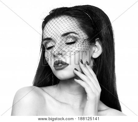 closeup fashion beauty portrait of beautiful girl in black veil isolated on white