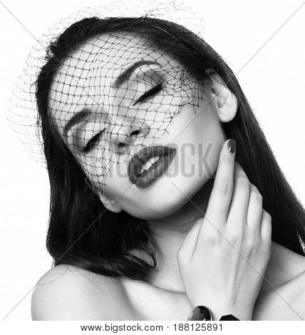 elegant beautiful woman in veil isolated on white. closeup fashion face portrait