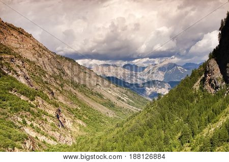 Beautiful cloudy sky mountains canyon landscape background
