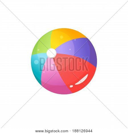 Bright cartoon beach ball icon. Colorful summer time  ball symbol isolated on white background. Vector illustration.