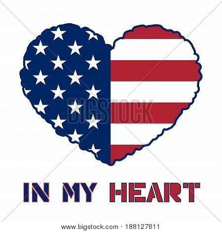 American flag heart shaped icon on white background. USA emblem typography Graphics. National printing design. Patriotic style. Symbol celebrate Independence Day America Vector illustration