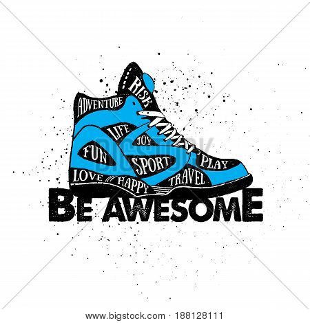 Hand drawn 90s themed badge with sneakers textured vector illustration and
