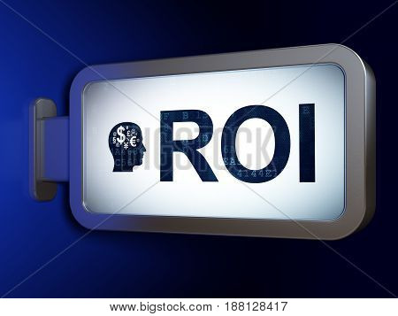 Finance concept: ROI and Head With Finance Symbol on advertising billboard background, 3D rendering