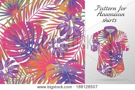 Seamless tropical floral background. Vector Hawaiian exotic leaf pattern on shirt mockup. Bright colors backdrop.