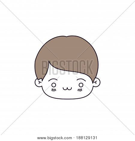 silhouette color sections of facial expression exhausted kawaii little boy with hair light brown vector illustration