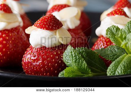 Summer Dessert: Strawberry With Whipped Cream, Almonds And Mint Macro. Horizontal