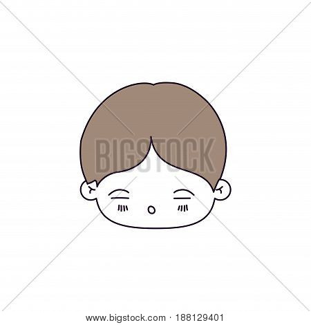 silhouette color sections of facial expression asleep kawaii little boy with hair light brown vector illustration