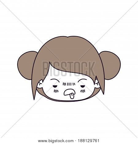 silhouette color sections of facial expression unsavory kawaii little girl with collected hair in light brown vector illustration