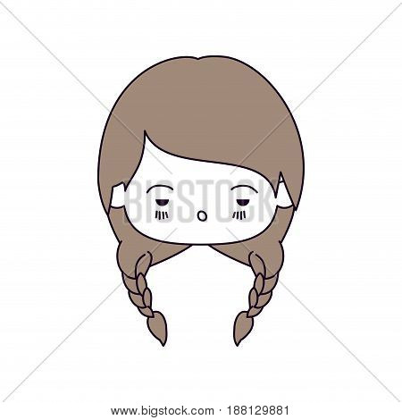 silhouette color sections of facial expression sad kawaii little girl with braided hair in light brown vector illustration