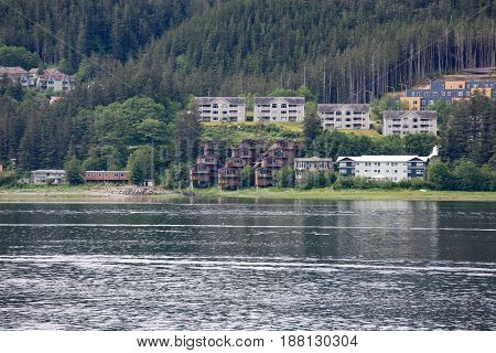Rustic Homes on Alaska Coast near Juneau