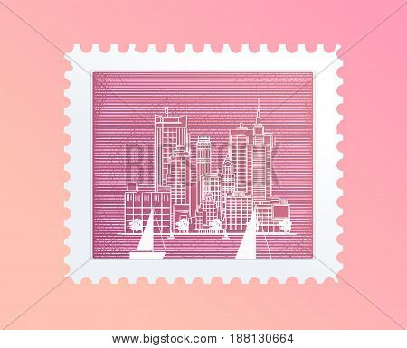 postage stamp with a picture of the city, tourist attraction in Trendy outline style, Vector illustration for your design.
