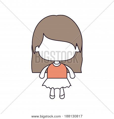 silhouette color sections of faceless little girl with straight hair in light brown vector illustration