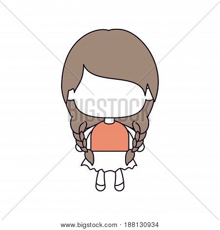 silhouette color sections of faceless little girl with pigtails hair and braided in light brown vector illustration