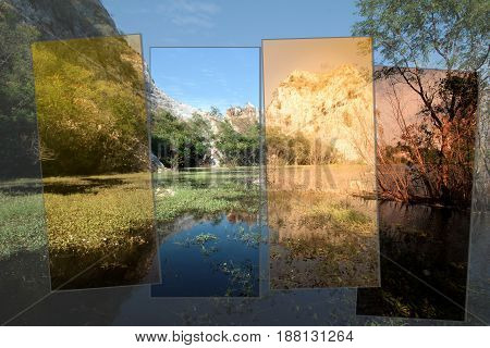 4Times of Water plants and reflections on the surface of the gorges and beautiful sky at Khao Ngoo Rock Park Ratchaburi Thailand